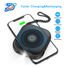 WX-4 New large capacity QI wireless charger chargingdual USB mobile power three-in-one square portable mini charging treasure