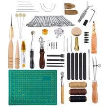 59Pcs  Leather Craft Tools  Kit Hand Sewing Stitching Punch Carving Work Saddle DIY Leathercraft Sewing Set Gift