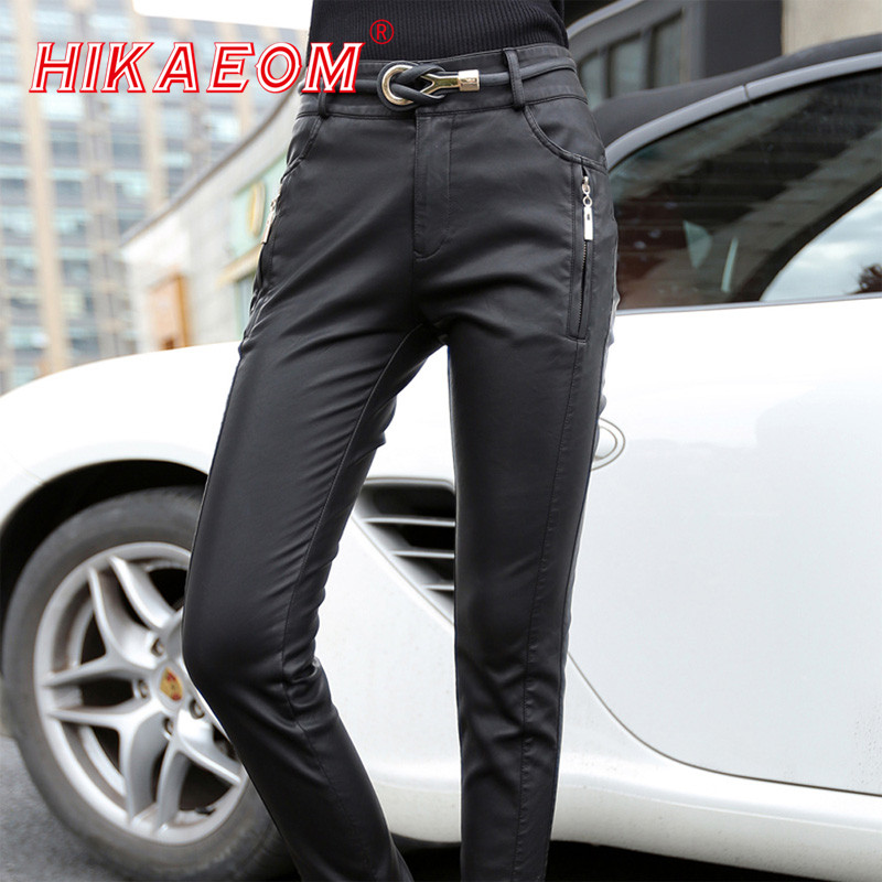 Hot Sale Fashion Thicken Women Pu Leather Motorsykkel Bukser High Waist Women Pencil Pants Skinny Bukser For Women (No Belt)