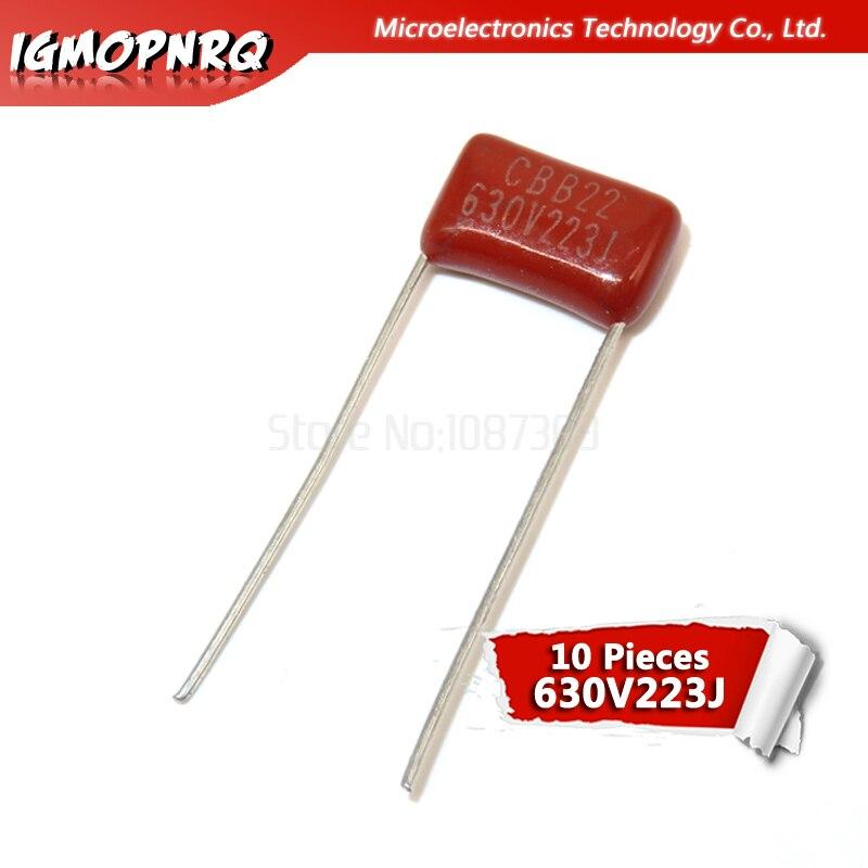 10PCS Metallized Polypropylene Capacitors CBB 630V 223PF 22NF 0.022UF P=10MM