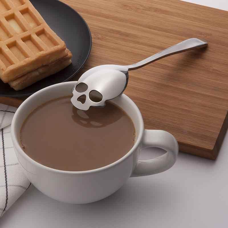 Crânio de Aço inoxidável da Forma Do Crânio Do Açúcar Colher Criativo colher de Café Colher de Sobremesa Colher de Bar Sorvete Doces Colher de Cozinha Utensílios de Mesa
