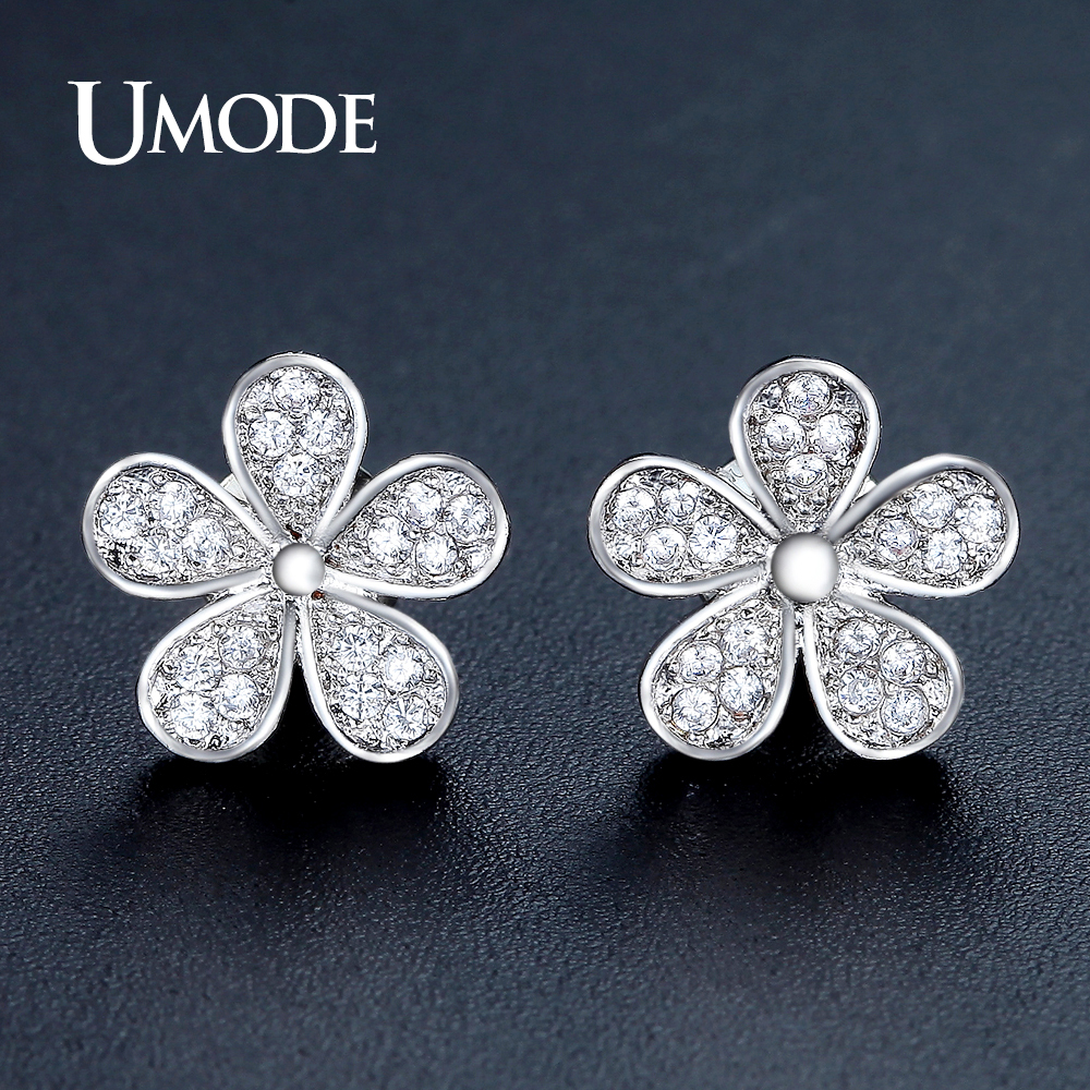 UMODE Cute Flower Shape Stud Earrings for Women White Gold Color Jewelry Fashion Blossom Boucle D'oreille Femme Christmas UE0321