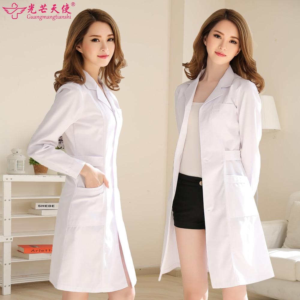Doctors serving long sleeved white coat female short sleeved white ...