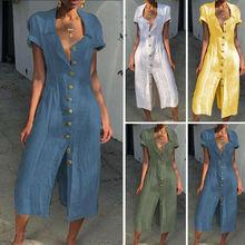 Women Casual Boho Short Sleeve Cotton Linen Long Maxi Dress Ethnic