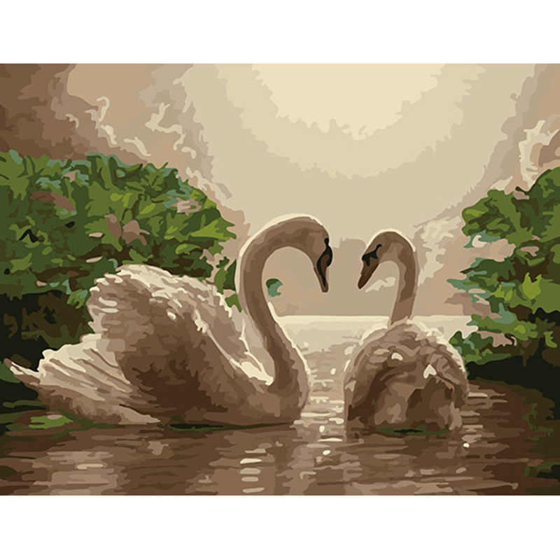 Two swans - Animal DIY Painting By Numbers Kits Drawing Paint By Number Acrylic wall pictures For living Room Artwork DY232