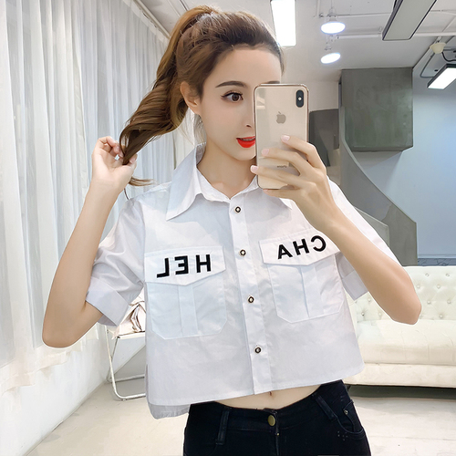 Vintage 2019 New Pocket Women Tops Brief Loose Korean Camisas Single Breasted Fashion Letter Casual Blusa Feminina