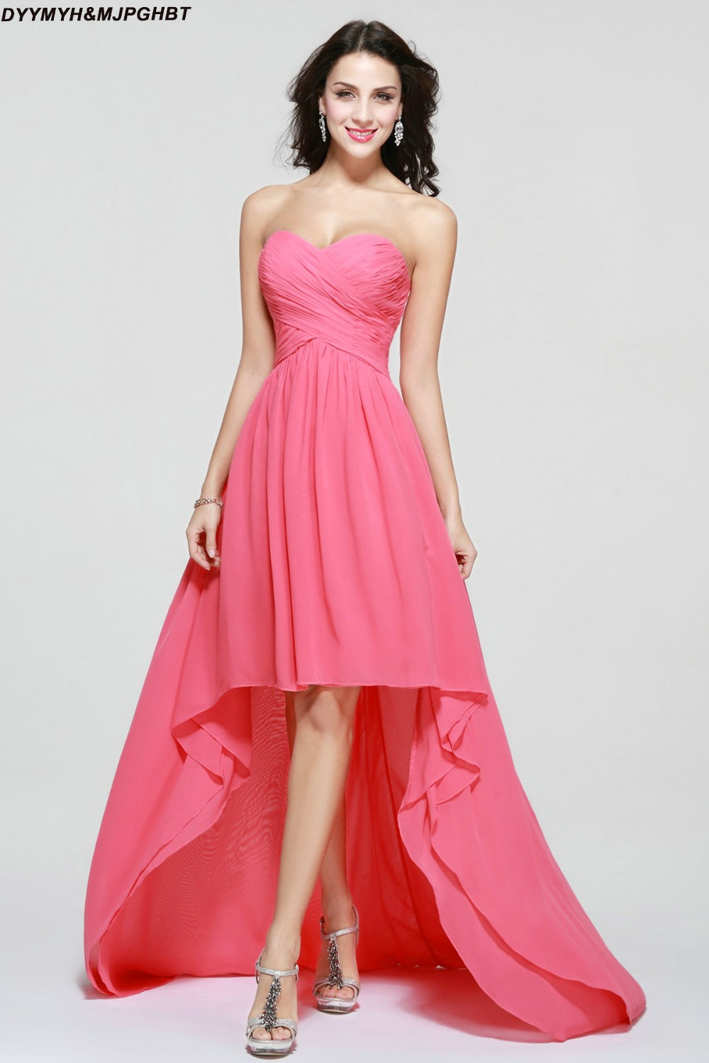 Fashionable short front and long back sweetheart pleat top fashionable short front and long back sweetheart pleat top asymmetrical hot pink bridesmaid dresses in bridesmaid dresses from weddings events on ombrellifo Gallery