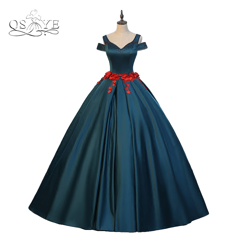 2017 New Arrival Dark Green Satin Formal Evening Dresses Beaded V Neck Red 3D Floral Flower Long Prom Dress Party Gown