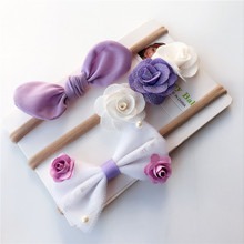 3pc baby girl boy spandex nylon rabbit ear headband children skinny stretchy Non-Marking Flower Bowknot elastic hair Band