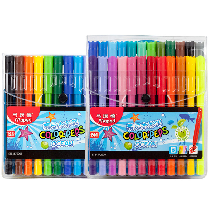 maped stationery set 1224 color elf watercolor pen washable coloring brush painting graffiti children