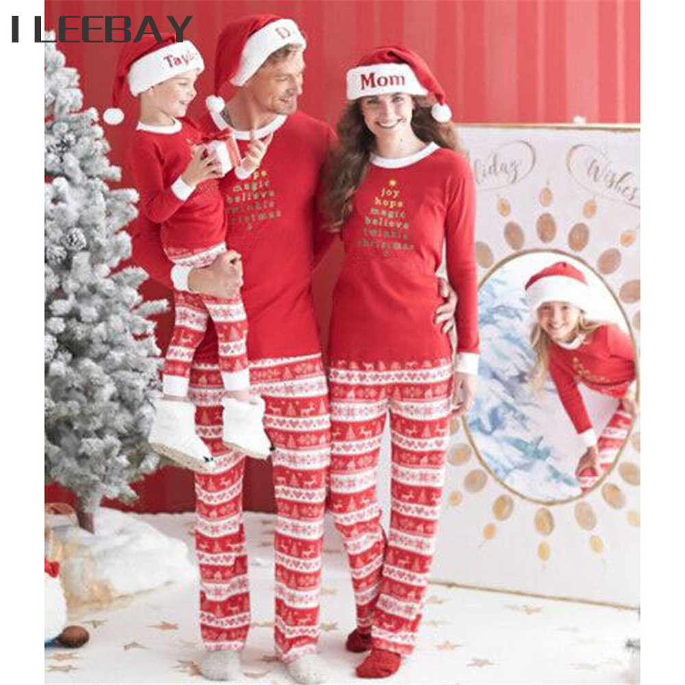 2018 family christmas matching clothes family pajamas mother father kid outfits print matching family shirtspants clothing sets