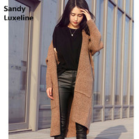 2016 Autumn Wool Cardigan Women Sweaters Long Cardigan Basic Coats Sueter Sweater Korean Simple Style Knitted