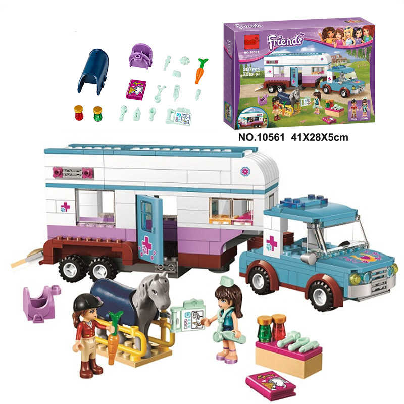 10561 Friends Heartlake Horse Vet Trailer Bus Building Block Set Olivia Sophie Compatible With LegoINGlys 41125 Toy For Girl Boy