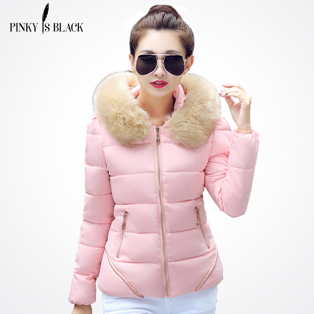 PinkyIsBlack 2019 Autumn Winter Jacket Women Coat   Parka   Fur Collar Women Down Cotton-padded Jacket Coat Candy Colors Outwear