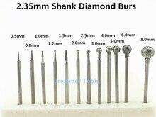 Jrealmer 10pcs 2.35mm shank Round Ball Diamond Burrs bits Dremel Burr Rotary Tool Dental Engraving Etching Abrasive tool