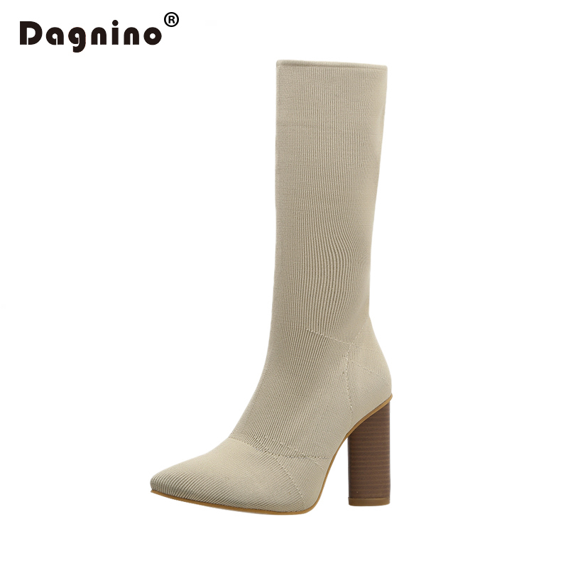 где купить DAGNINO Ankle Elastic Sock Boots Chunky High Heels Stretch Women Spring Sexy Booties With Pointed Toe Chelsea Boots Pumps Shoes по лучшей цене