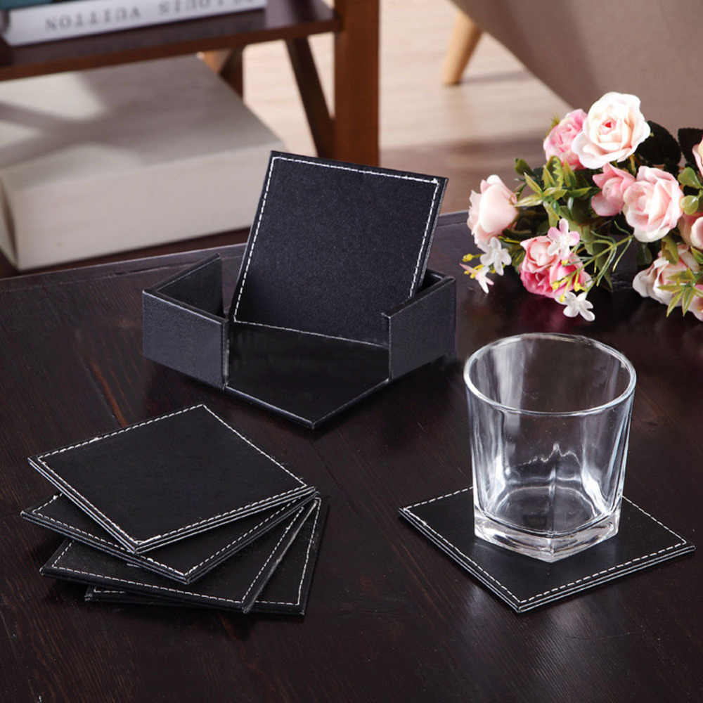 6pcs/set Cup Coaster Double-deck Black Leather Cup Mat Table Cup Holder Coffee Drink Coasters Placemat Kitchen Accessories