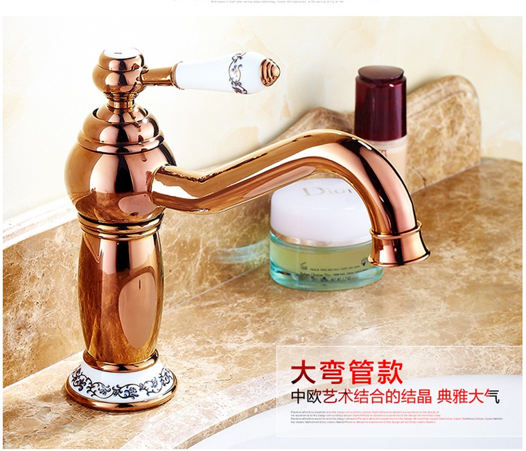 New arrival Bathroom Luxury ceramic Rose Gold Faucet /Fashion wash basin faucet /Cold&Hot water Single Handle basin faucetNew arrival Bathroom Luxury ceramic Rose Gold Faucet /Fashion wash basin faucet /Cold&Hot water Single Handle basin faucet