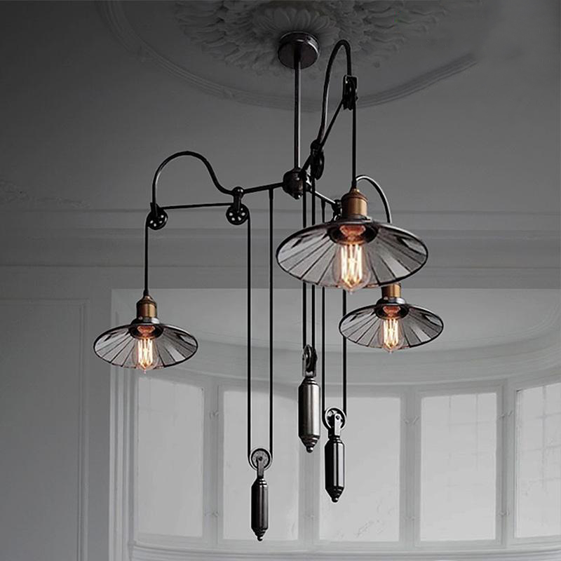 Antique Lift pulley Pendant Lights AC Adjustable Pendant lamps 3 heads For Parlor Hotel Suspension Hanging lamps Art Deco G109