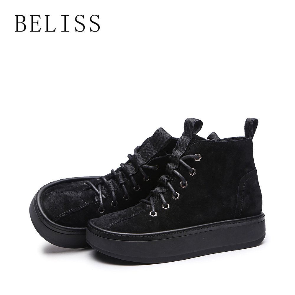 BELISS new spring autumn women ankle boots platform leather flats women boots lace up fashion casual shoes ladies cow suede B92 in Ankle Boots from Shoes