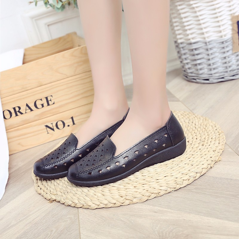 Women Flat 2019 Summer Women Genuine   Leather   Shoes Plus Size 35-40 Loafers Women Floral Casual   Leather   Flat Shoes Woman Oxford