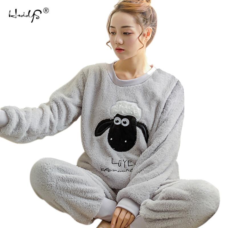 Otoño Invierno de las mujeres conjuntos de Pijamas ropa de dormir traje grueso cálido Coral camisón de franela de dibujos animados femeninos Animal Pijama Mujer