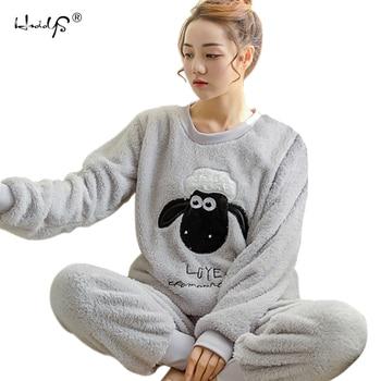 Otoño Invierno de las mujeres conjuntos de Pijamas ropa de dormir traje  grueso cálido Coral camisón de franela de dibujos animados femeninos Animal  Pijama ... 453eef14c62