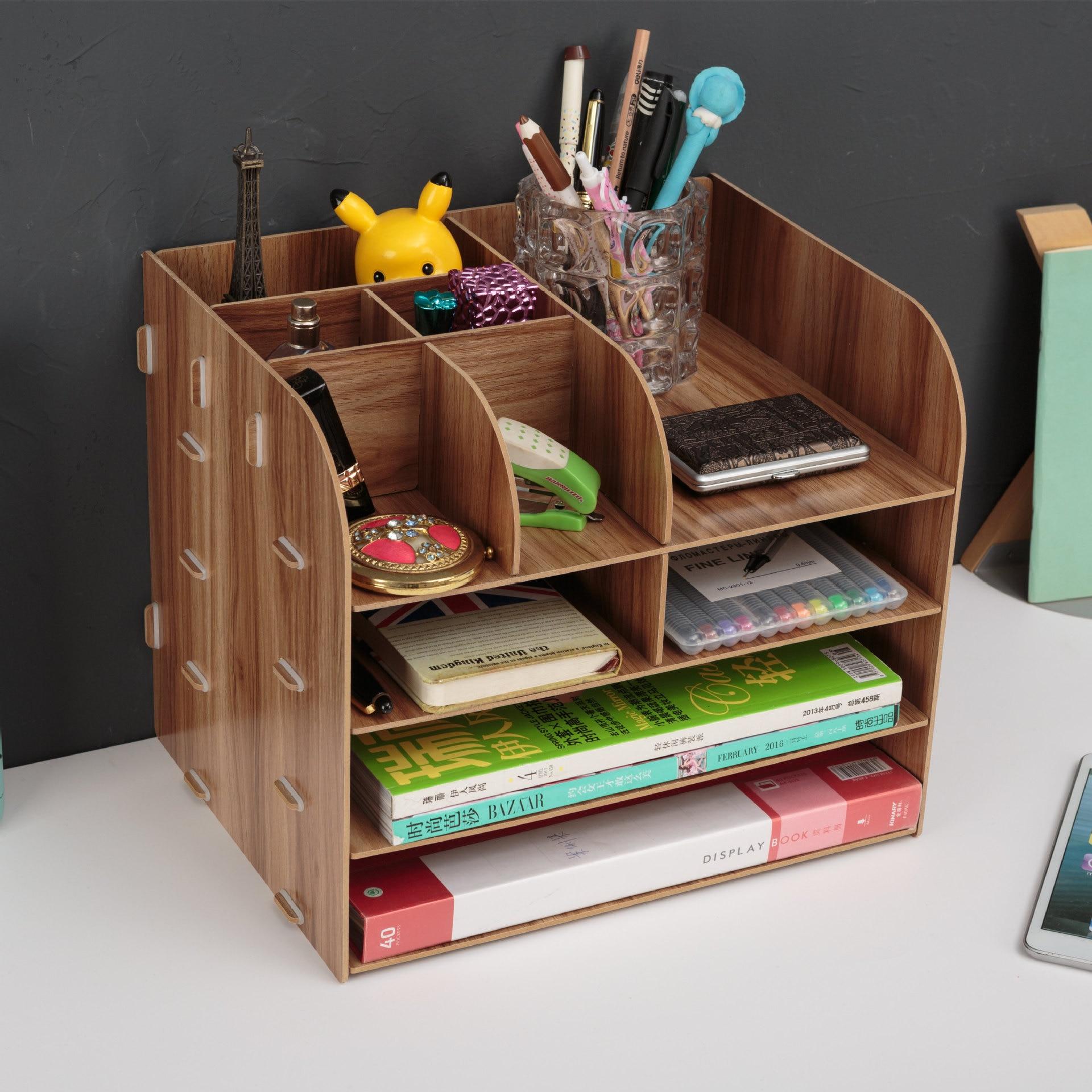Fournitures de bureau grand bureau tiroir boîte de rangement en bois fichier cadre en bois fichier cadre données supports