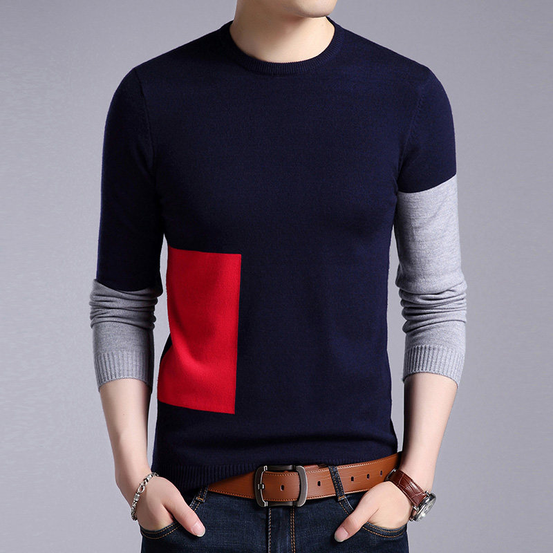 2019 New Fashion Brand Sweaters Mens Pullovers Patch Work Slim Fit Jumpers Knit Woolen Autumn Korean Style Casual Men Clothes