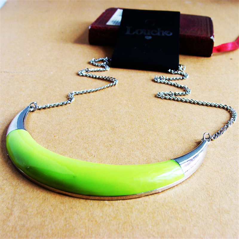 Women Special store candy color Lemon Green enamel moon shape alloy chokers necklace chain