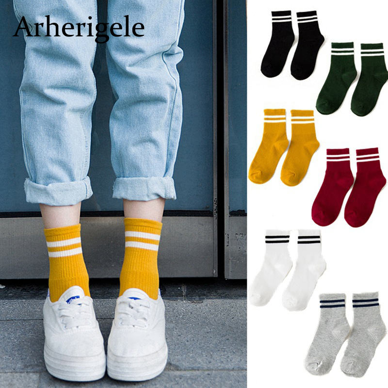 Arherigele Unisex Women   Socks   Classic Two Stripes Cotton   Socks   Breathable Retro Old School Short Ladies Tube   Socks   Chaussette