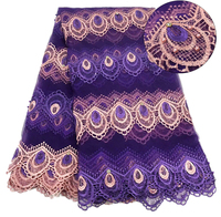 Purple New Fashionable Heavy Beaded Stones African French Lace Fabric With Flowers on Tulle Embroidery Bridal Dress Lace Fabric