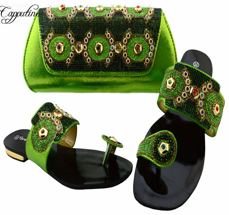 Фото Capputine New Arrival African Women Shoes And Purse Set Latest Italian Slipper Shoes And Bag Set Free Shipping Wholesale BCH-37