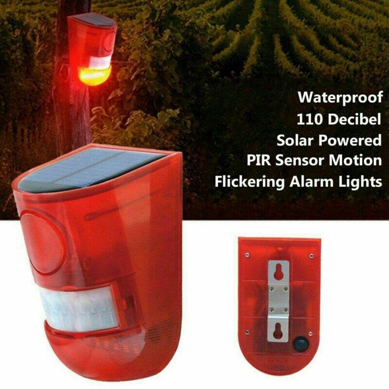 Solar Powered Security Alarm Light PIR Yard Motion Sound Sensor Waterproof