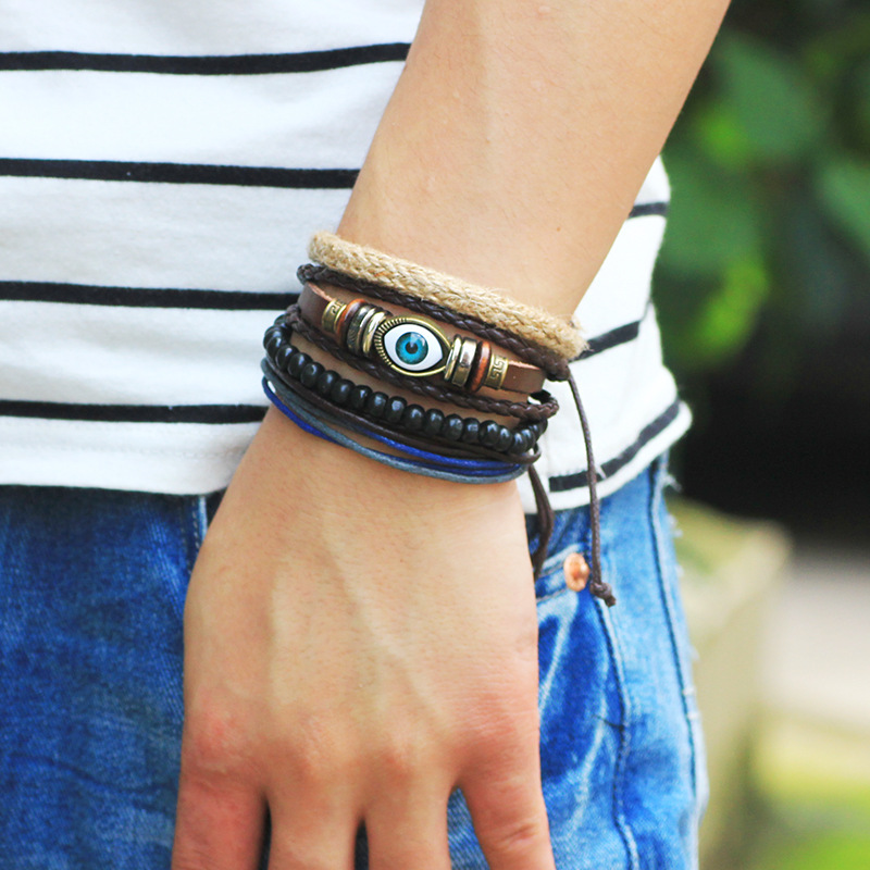 Aliexpress 1set 4pcs Punk Leather Devil Greek Eyes Friendship Bracelets For Male Beads Braclet Mens Braslet Pulseras Hombre Bileklik Erkek From
