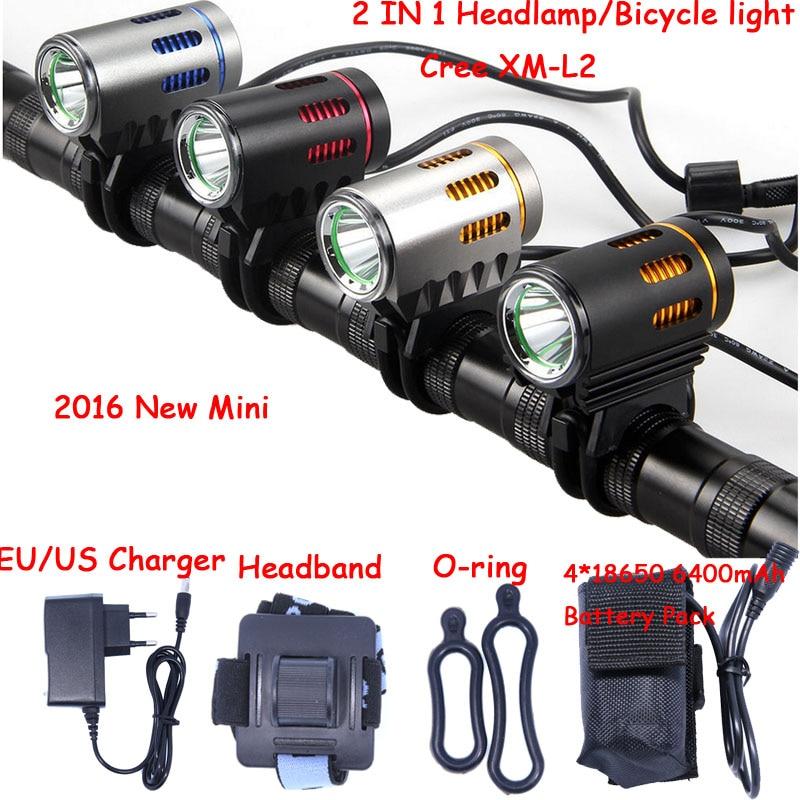2016 new Mini Bicycle light XM-L2 LED Front Light MINI Bike Lamp 2000Lm Headlamp Headlight + Battery Pack + Charger new xm l2 x2 bike led front lights bicycle headlamp light mtb cycling 6000lm head light with 6400mah battery pack ac charger