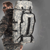 Military camouflage shoulder bag mountaineering backpack tents package 70L High capacity travel bag waterproof camping luggage