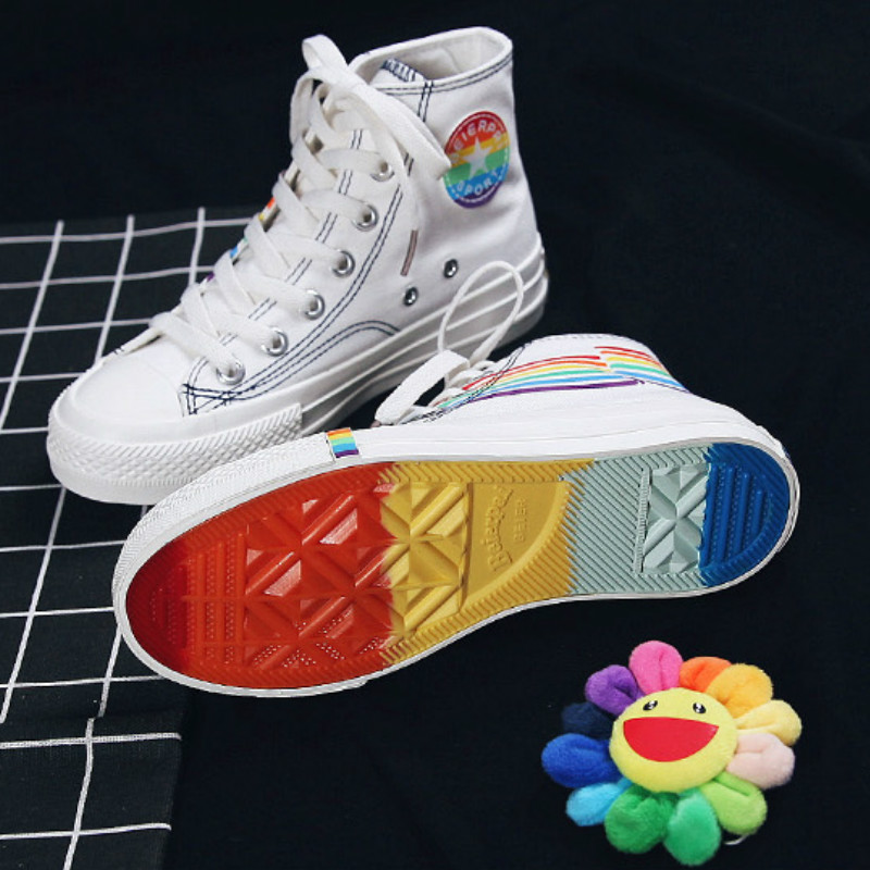 2019 Spring Autumn Woman Skateboard Shoes Fashion High Top Canvas Sneakers Women Rainbow Sole Leisure Woman Sports Shoes Y2-90