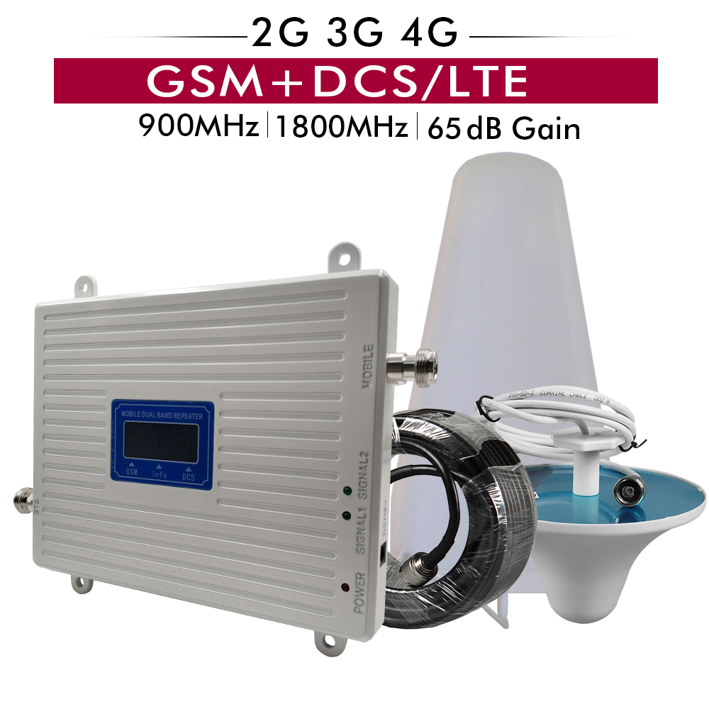 65dB Gain GSM 900 DCS LTE 1800 2G 4G Cellular Mobile Signal Repeater Amplifier LPDA Ceiling Antenna Cable Set Dual Band Booster