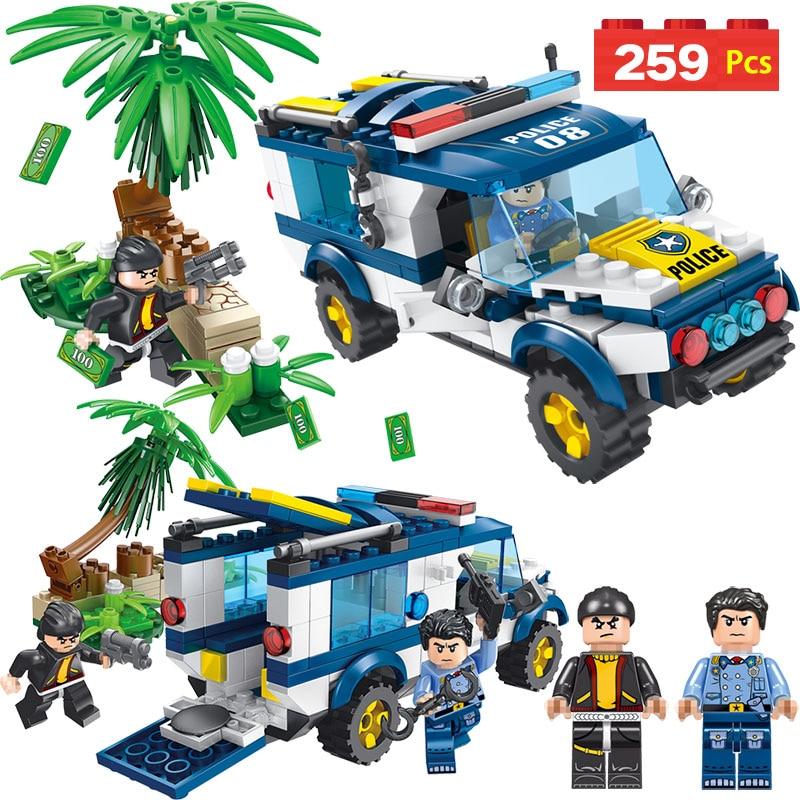 Galleria fotografica Police Mini Action Figures Compatible <font><b>LegoINGLYS</b></font> <font><b>City</b></font> Policemen Blocks Forest Hunt Set Bricks Enlightening Toys For Children