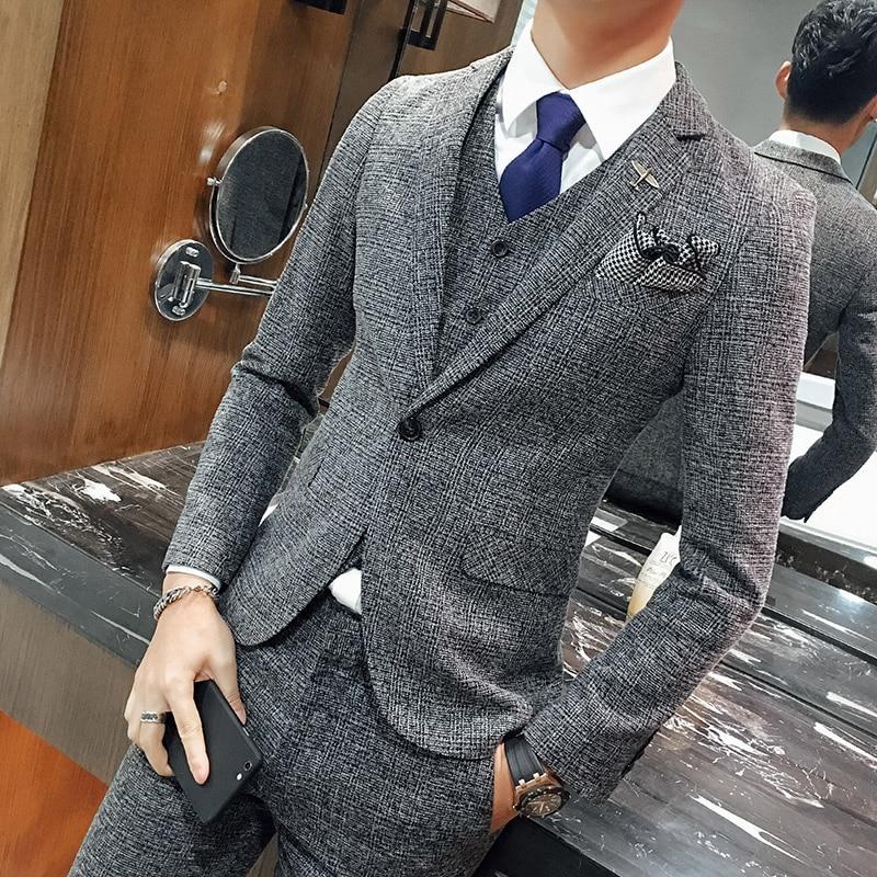 Wedding Formal Wear Suits & Blazer Men's Good Quality Gray Plaid Suits Fashion Male Formal Dress Suits Blazer Jackets+Pants+Vest