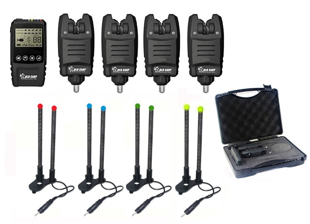1 + 4 carpe de pêche ensemble Galaxy BL Multi-LED Sans Fil alarme de morsure de pêche avec Hic bar OLDCARP