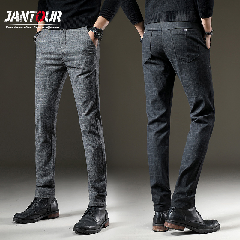 Jantour Brand Pants Men Casual Elastic Long Trousers Male Cotton Lattice Straight Gray Work Pant Men's Autumn Large Size 28-38(China)