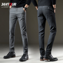 Бренд jantour брюки мужские повседневные эластичные длинные брюки мужские хлопковые сетчатые прямые серые рабочие брюки мужские осенние большие размеры 28-38