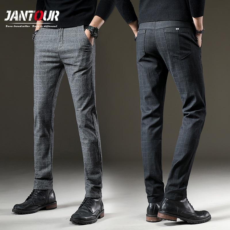 jantour Brand Pants Men Casual Elastic Long Trousers Male Cotton lattice straight gray Work Pant men Innrech Market.com