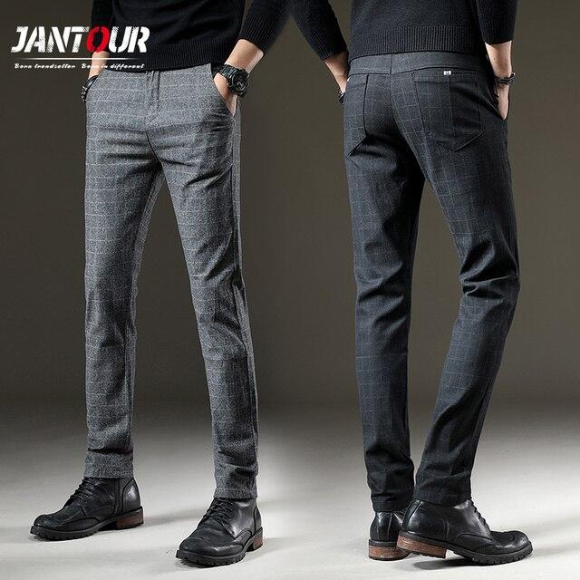 jantour Brand Pants Men Casual Elastic Long Trousers Male Cotton plaid gray Work Pant mens autumn Winter big size 28 38