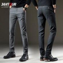 Мужские повседневные эластичные длинные брюки jantour, серые рабочие брюки из хлопка в клетку на осень и зиму, большие размеры 28 38