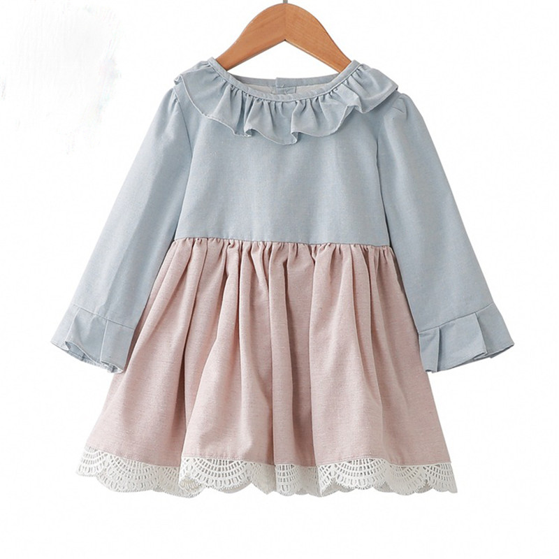 New hot spring and autumn dresses European and American cotton and linen children's dress Sen ctton and linen girls clothes женская рубашка european and american big 1715