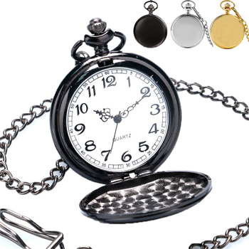 High Quality Retro Exquisite Black/Silver/Golden Smooth Face Quartz Pocket Watch with 30 CM Pendant Chain Vintage Clock Gifts - discount item  26% OFF Pocket & Fob Watches
