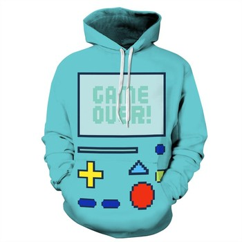 2017 NEW FASHION MEN AND WOMEN blue Game consoles 3D print Hoodie Sweatshirts Pullovers Autumn Tracksuit Winter Loose Thin Hoody